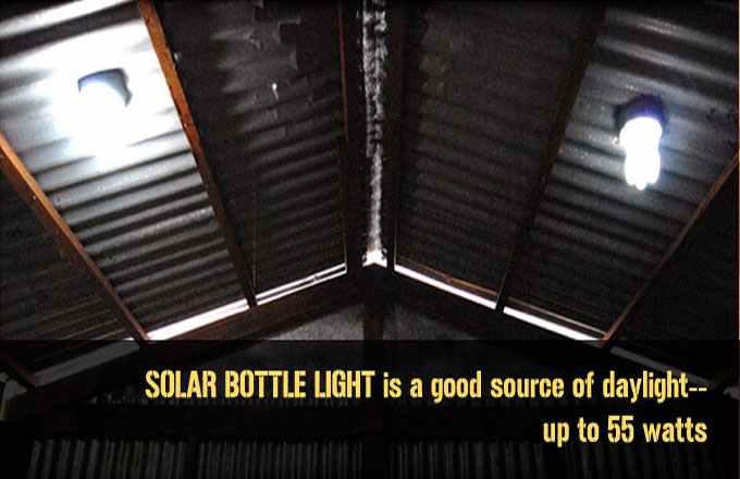 Ingenioso proyecto de iluminación solar con botellas plasticas