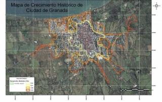 Crecimiento Histórico de la ciudad de Granada, Nicaragua. Elaboración propia.