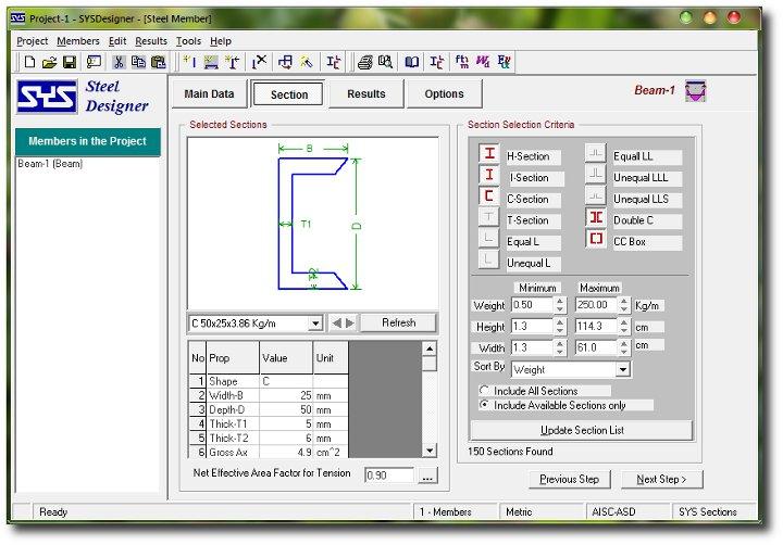 Programa para diseñar columnas, vigas y miembros axiales de acero