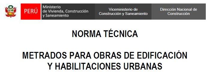 Norma técnica de metrados para obras de edificación y habilitaciones urbanas