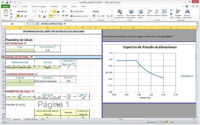 Excel para determinar espectro sísmico de diseño para la norma Sismoresistente E-030 del Perú