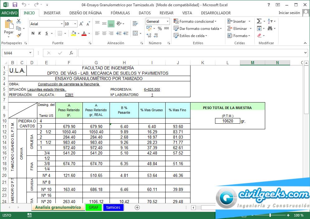 Hojas excel para laboratorio de suelos | CivilGeeks.com