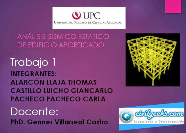 VIDEOS DE EXPOSICIONES DE ANALISIS SISMICO ESTATICO (UPC) - 2013