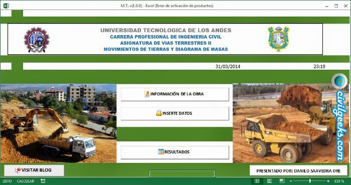 EXCEL PARA MOVIMIENTO DE TIERRAS Y DIAGRAMA DE MASA (xls ...