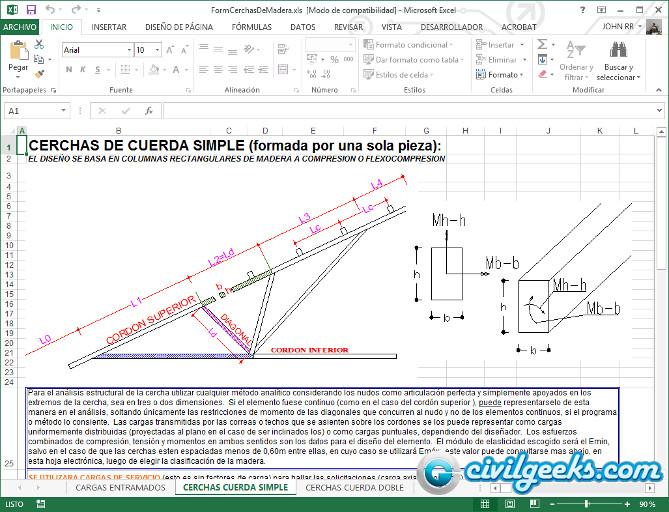 Hoja excel para diseño de cerchas de madera | CivilGeeks.com