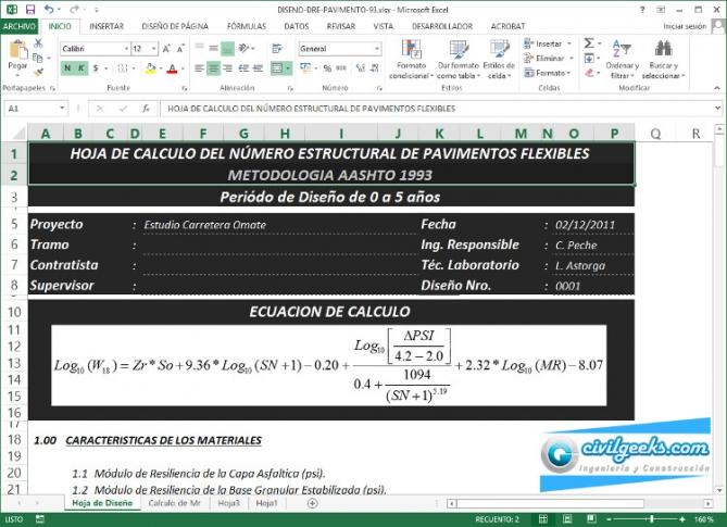 Excel para cálculo del número estructural de pavimentos flexibles ...