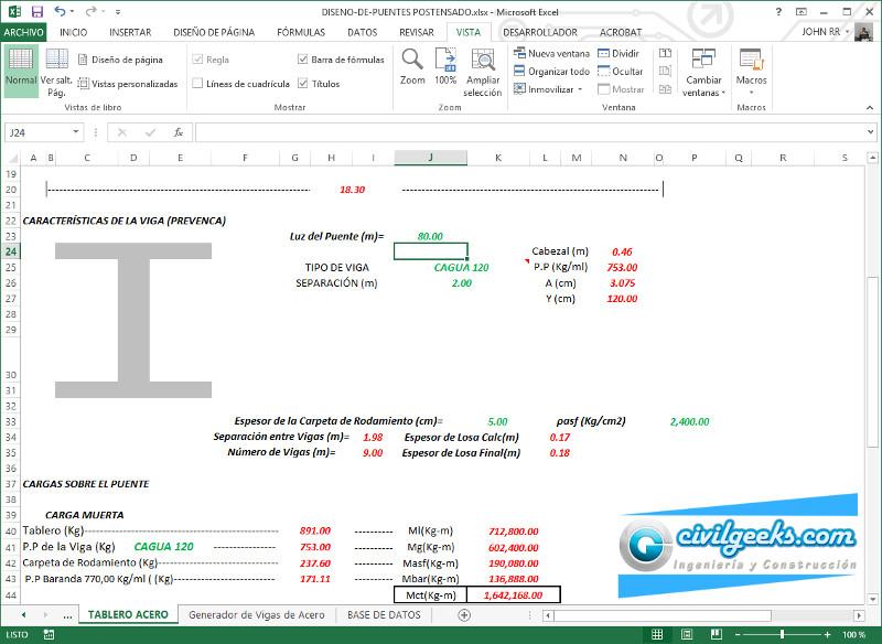 Excel para diseño y calculo de puentes con vigas pretensadas ...