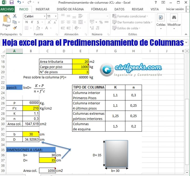 Hoja excel para el Predimensionamiento de Columnas | CivilGeeks.com