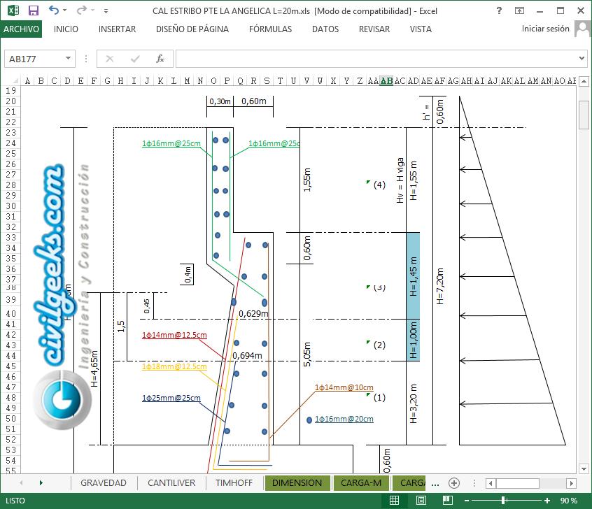 Hoja Excel para Calculo de Muros de Gravedad, Estribo para un Puente ...