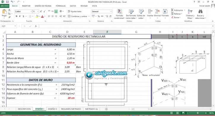 Hoja Excel para el Diseño de Reservorio Rectangular