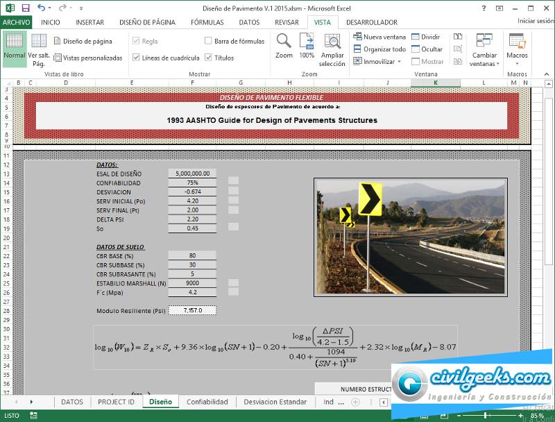 Hoja de Cálculo Excel Para Diseño de Pavimentos Flexible ...