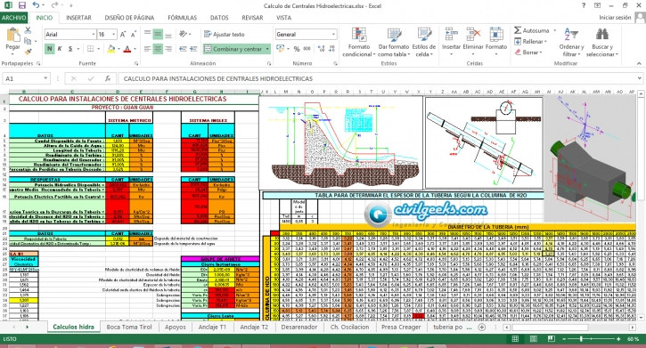 Hoja Excel para el cálculo de instalaciones en centrales Hidroeléctricas
