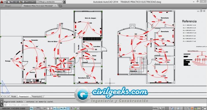 Planos para la Instalación eléctrica de una vivienda de 2 plantas