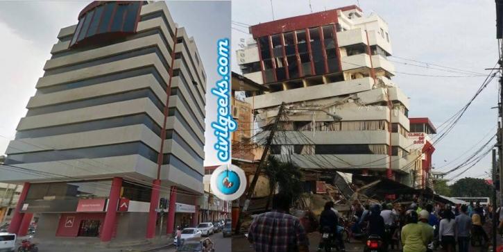 estructuras antes y después del sismo en la zona cero de Ecuador 1