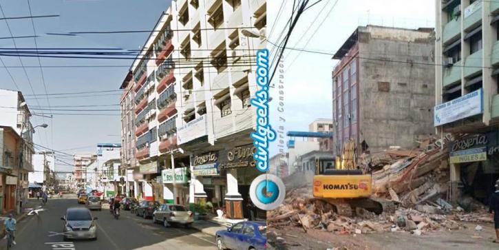 estructuras antes y después del sismo en la zona cero de Ecuador 5