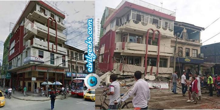 estructuras antes y después del sismo en la zona cero de Ecuador 2