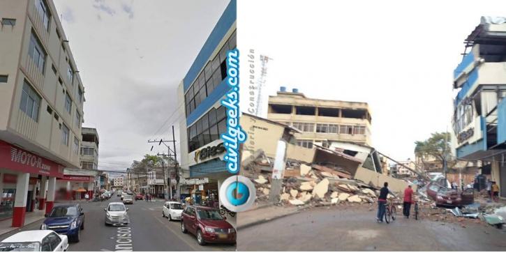 estructuras antes y después del sismo en la zona cero de Ecuador 3