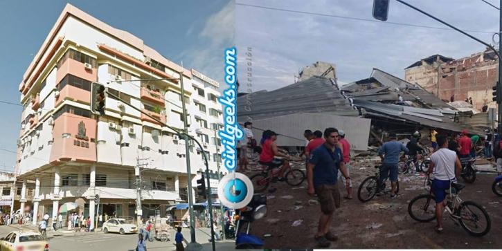 estructuras antes y después del sismo en la zona cero de Ecuador 6