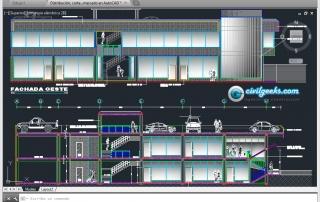 Distribución, cortes y elevaciones de un Pequeño mercado en AutoCAD