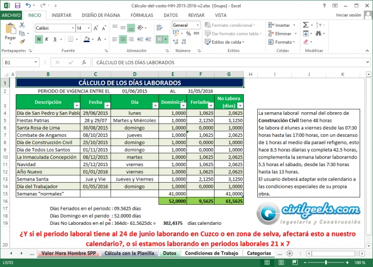 Hoja Excel para el Cálculo del costo de horas hombre [Ing. Jorge ...