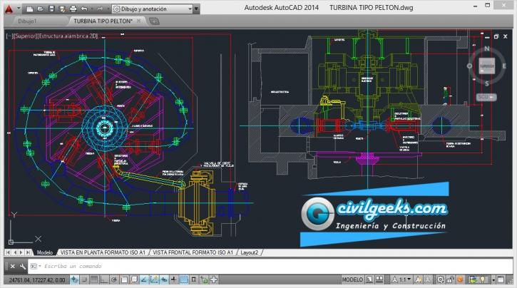 Planos didácticos de una Turbina Tipo Pelton