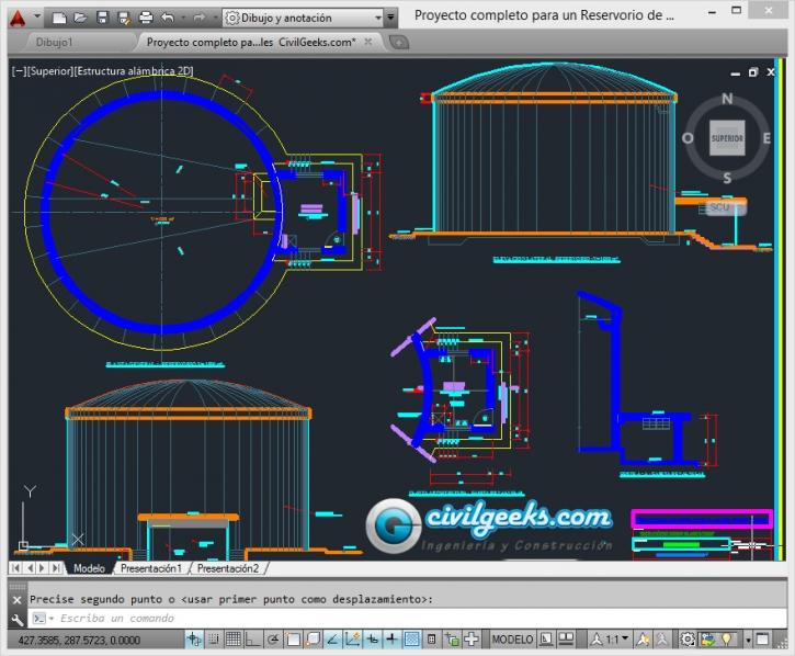 Proyecto completo para un Reservorio de 1000m3. Planos de arquitectura, estructuras, instalaciones hidraulicas y detalles