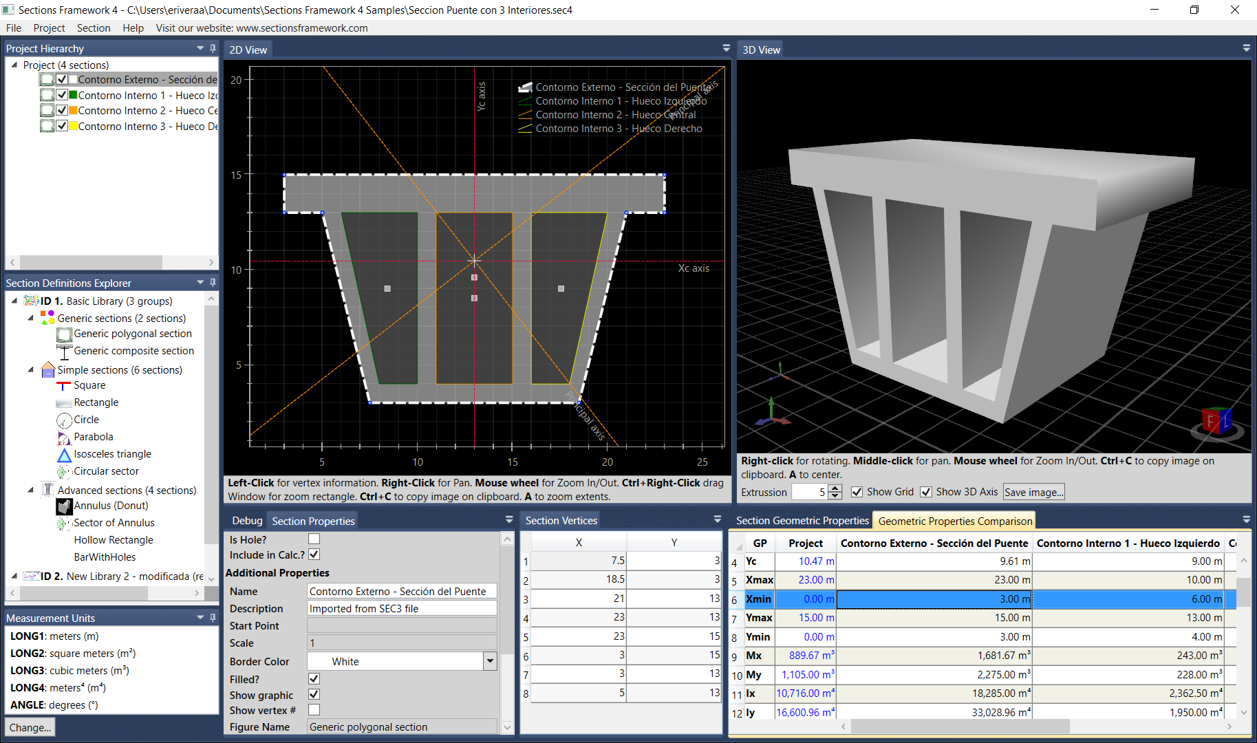 Software para calcular propiedades geométricas de secciones transversales y polígonos
