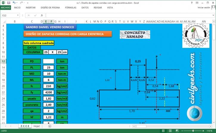 Hoja de Excel para el Diseño de Zapatas corridas con Carga Excentrica