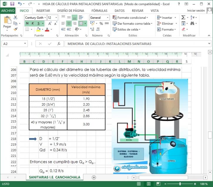 Hoja Excel para Calcular la capacidad de una cisterna y tanque elevado