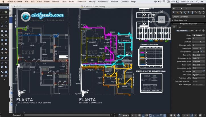 Plano completo de Instalacion Electrica en vivienda unifamiliar
