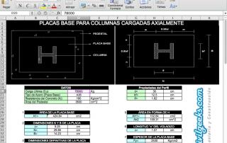 Excel para Placas base para columnas de acero cargadas axialmente siguiendo el método LRFD