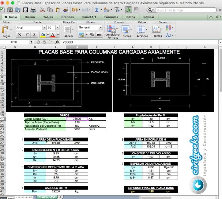 Excel para Placas base en columnas de acero cargadas axialmente siguiendo el método LRFD