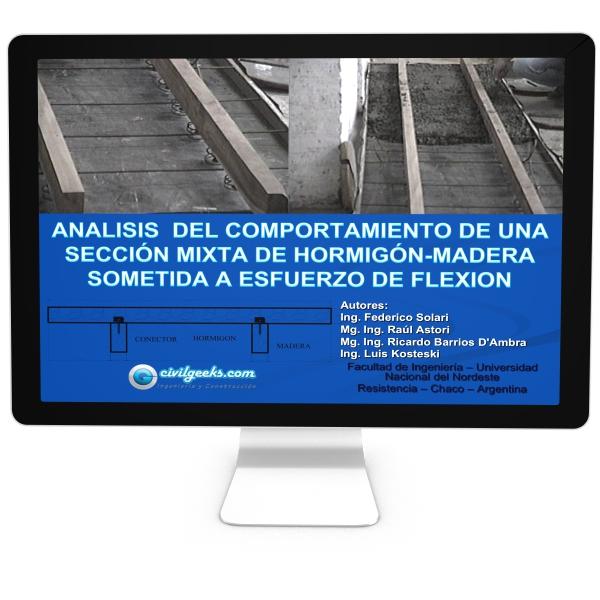 Analisis del comportamiento de una sección mixta de Hormigón-Madera sometida a esfuerzo de Flexion