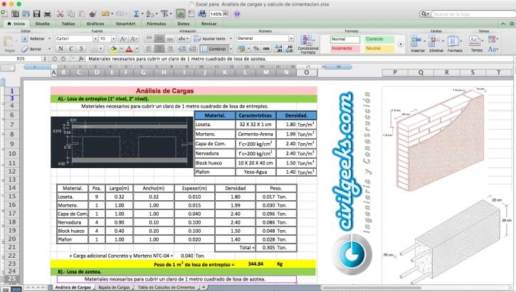 Hoja Excel para Analisis de cargas y calculo de cimentacion