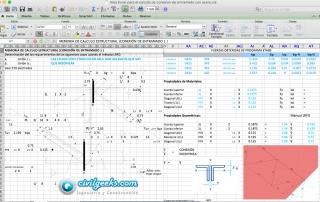 Hoja Excel para el calculo de conexion de entramado con acero