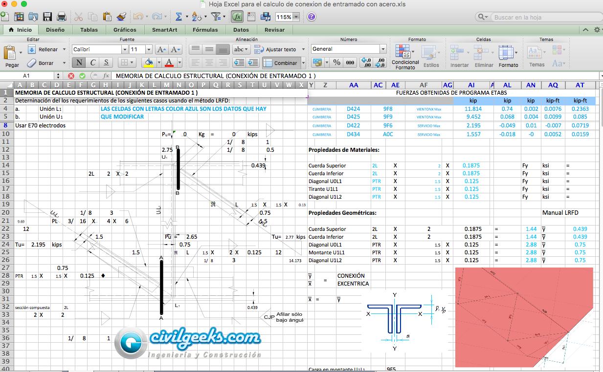 Excel para el calculo de conexion de entramado con acero ...