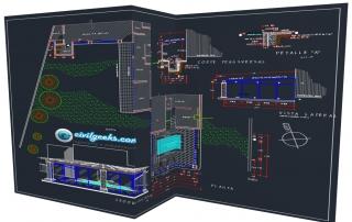 Plano arquitectónico para la construcción de una Piscina con cubierta 2