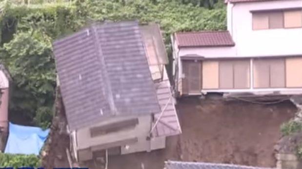 Derrumbe de una casa en Japón (VIDEO)