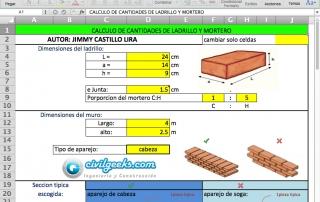 Excel para el Calculo de cantidades de ladrillo y mortero
