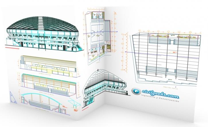 Plano arquitectónico de un Estadio de basquetbol 1
