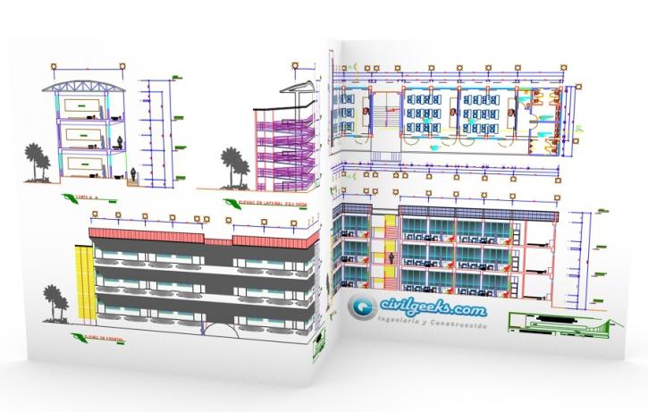 Planos en AutoCAD para el Modulo de aulas de 3 pisos