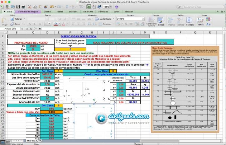 Plantilla Excel para el Diseño de Vigas de Acero por flexión (Metodo ...