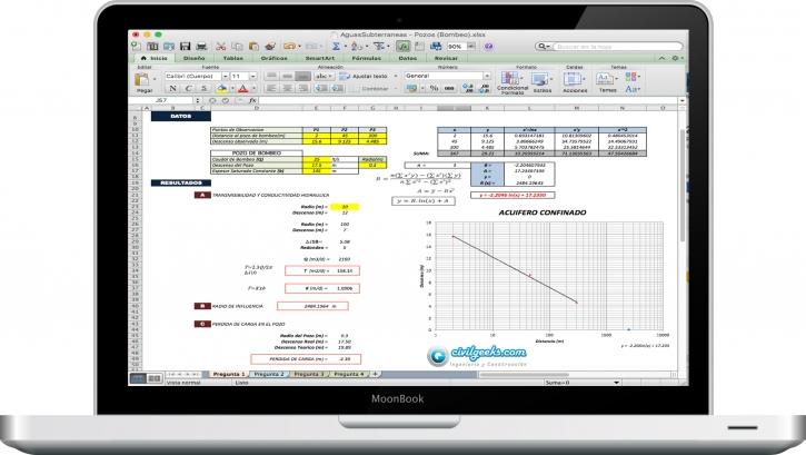 Hoja Excel para la Evaluacion en pozos de bombeo de aguas ...