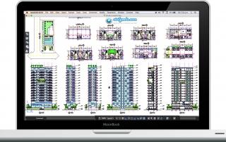 Plano arquitectónico de un condominio de 9 pisos
