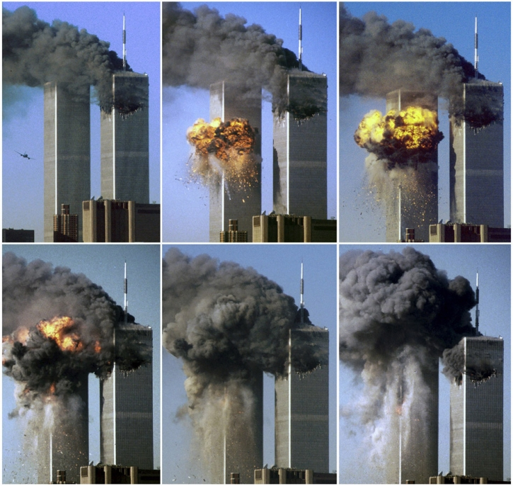 "ATTENTION EDITORS - THIS FILE PICTURE IS ONE OF 83 TO ACCOMPANY THE TENTH ANNIVERSARY OF THE SEPTEMBER 11 ATTACKS. SEARCH FOR KEYWORD ""9/11"" TO SEE ALL THE IMAGES (PXP901-PXP983) A combination photo shows United Airlines Flight 175 impacting the south tower of the World Trade Center in New York in this September 11, 2001 file photo. September 11th marks the 10th anniversary of the 9/11 attacks where nearly 3,000 people died when four hijacked airliners were used in coordinated strikes on the Pentagon and the World Trade Center towers. The fourth plane crashed in Pennsylvania. REUTERS/Sean Adair/Files (UNITED STATES - Tags: CRIME DISASTER ANNIVERSARY)"
