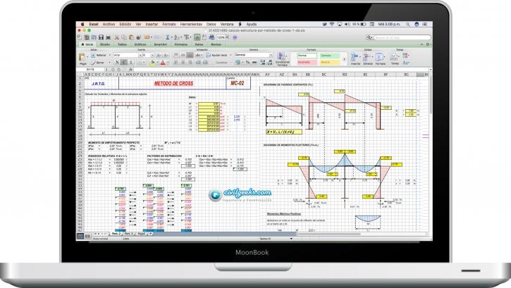 Hoja Excel para el Calculo de una estructura por Método de Cross