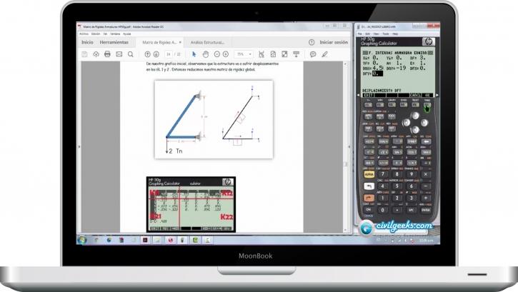 Método matricial de rigidez en Armaduras con calculadoras HP 50g