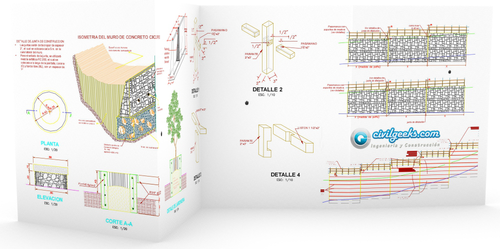 planos de detalles de muros de contencion