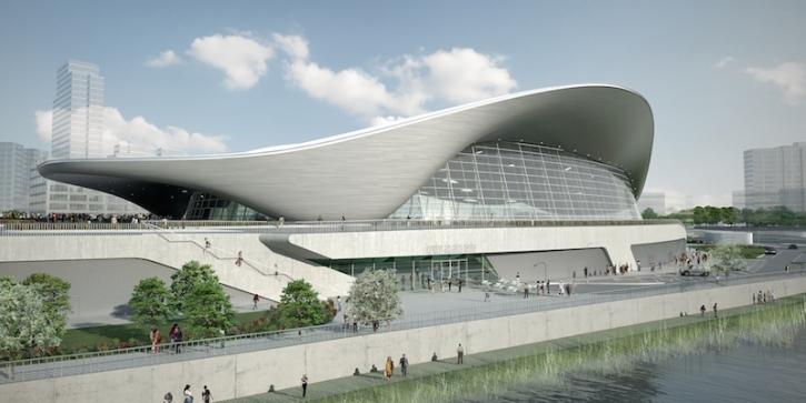 A CGI representation of the Aquatics Centre after the Games.