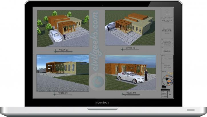 Planos arquitectónicos para la construcción de una vivienda prefabricada de 75 m2